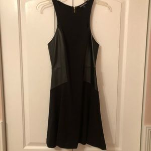 Express Black Cocktail Dress Faux Leather Detail